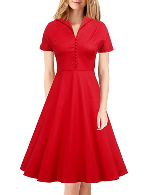 1940s & 1950s Style Shirt Dresses, Shirtwaist Dresses iLover Womens Classy Vintage 1940s Short Sleeves Rockabilly Swing Evening Dress $28.99 AT vintagedancer.com