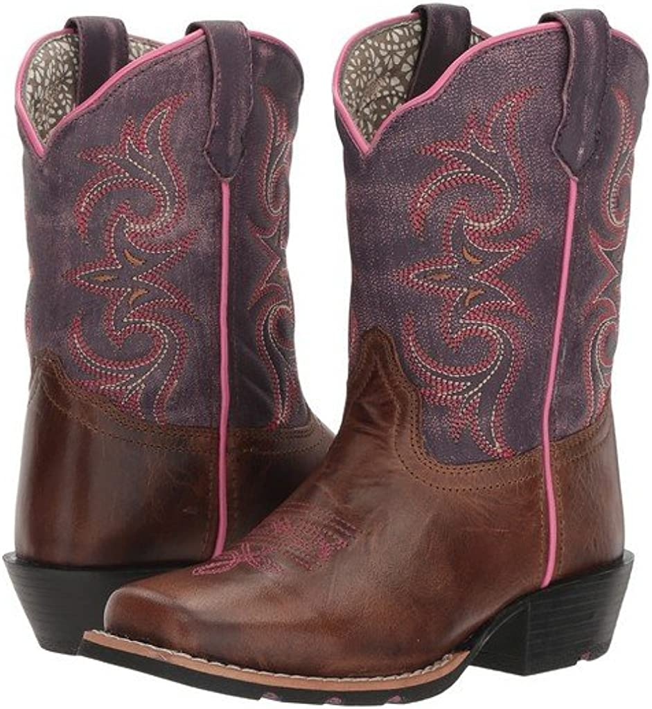 Dan Post Girls Majesty Brown//Purple Western Boot Square Toe Brown 13 D