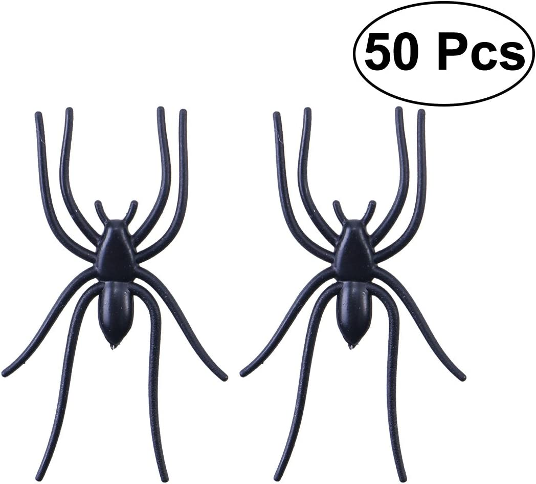 50Pcs//Pack Halloween PVC Black Spiders Party Trick Toys Home Party Fun Q