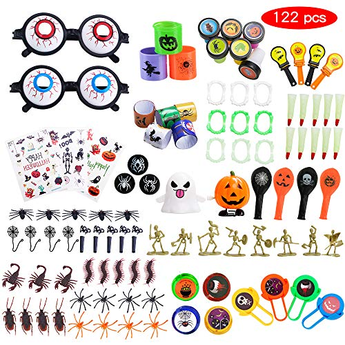 Halloween Toys Over 122 Pcs Children's Party Favors School Classroom Rewards, Trick Treating, Halloween Miniatures,Halloween Prizes]()