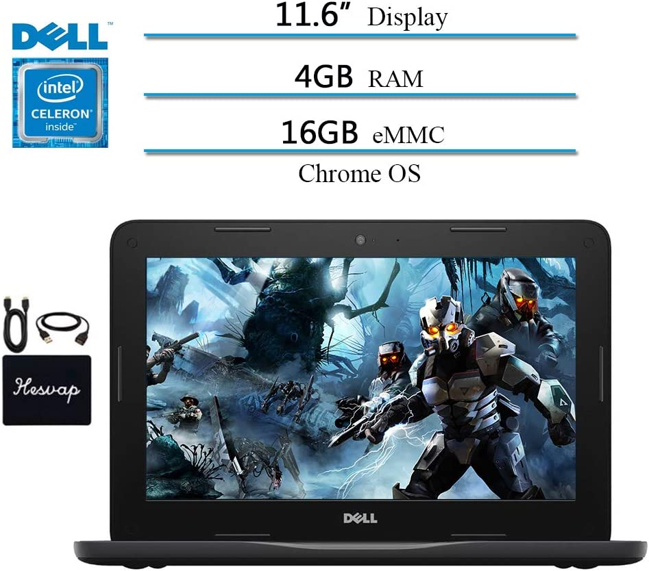 Newest 2020 Dell Inspiron 11.6 Chromebook Laptop for Business Student, Intel Celeron N3060, 4GB RAM, 16GB eMMC, up to 10 Hours Battery Life, Bluetooth, 802.11ac WiFi, Chrome OS w/ HESVAP 3in1 Bundle