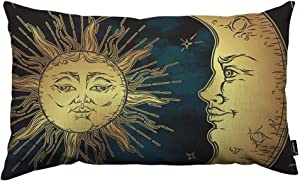 HOSNYE Boho Chic Throw Pillow Cover Golden Sun Crescent Moon and Stars Over Blue Black Sky Linen Fabric for Couch Bed Sofa Car Waist Cushion Cover 12 x 20 inch Pillow Case