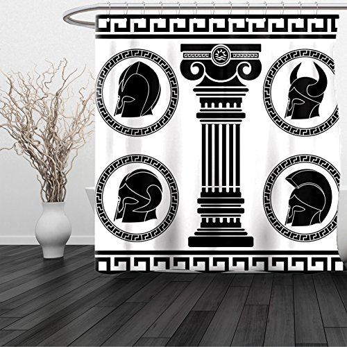 HAIXIA Shower Curtain Toga Party Patterned Circular Frames with Antique Helmets Spartan Military Costume Black and White (San Francisco 49ers Oval Ring)