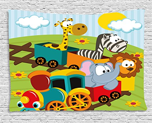 Ambesonne Kids Decor Tapestry, Cartoon Baby Safari Wild Animals In a Trainwith Striped Backdrop Art Print, Wall Hanging for Bedroom Living Room Dorm, 80 W X 60 L Inches, Multicolor (Baby Safari Wall Hanging)