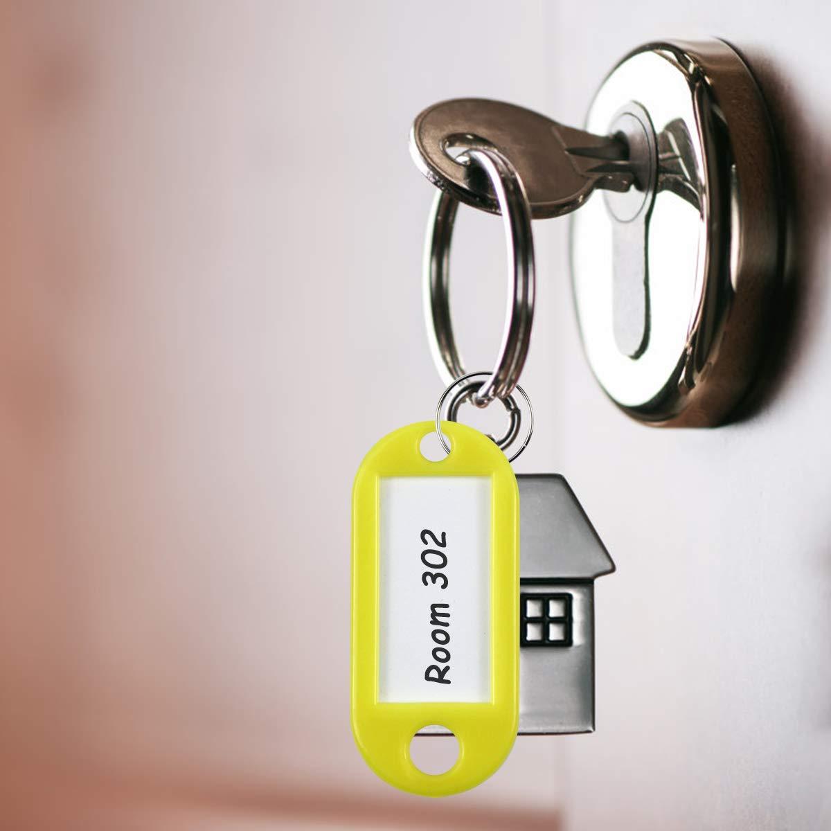 50 St/ücke Schl/üsselanh/änger Bunt Kunststoff Key ID Label Durable Kofferanh/ängermit Ring zum Beschriften B/ürogebrauch Reise