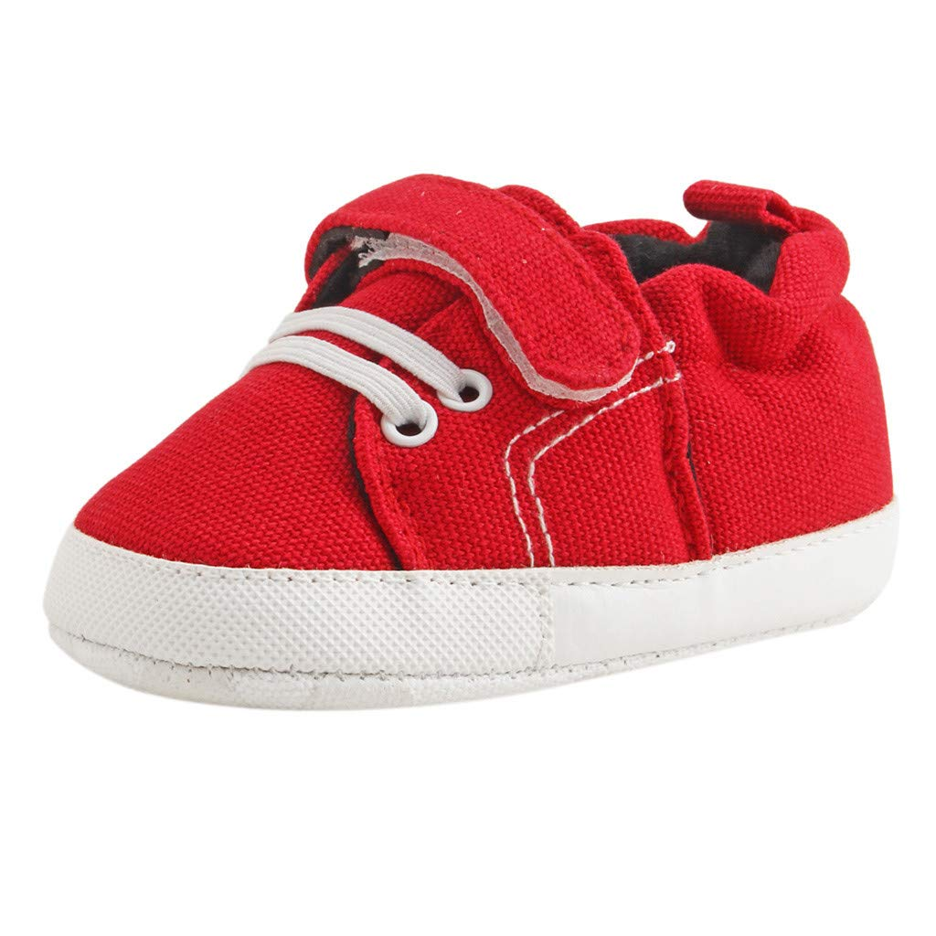Yalasga Infant Toddler Newborn Baby Girls Boys Lace Up Canvas Shoes Soft Shoe Anti-Slip First Walkers Sneaker (Red, 6-12 Months)