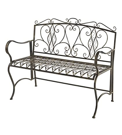 Outdoor Folding Metal Scroll Bench Antiqued Bronze Finish Deck Patio Yard  Garden Furniture Easy Storage 44.5