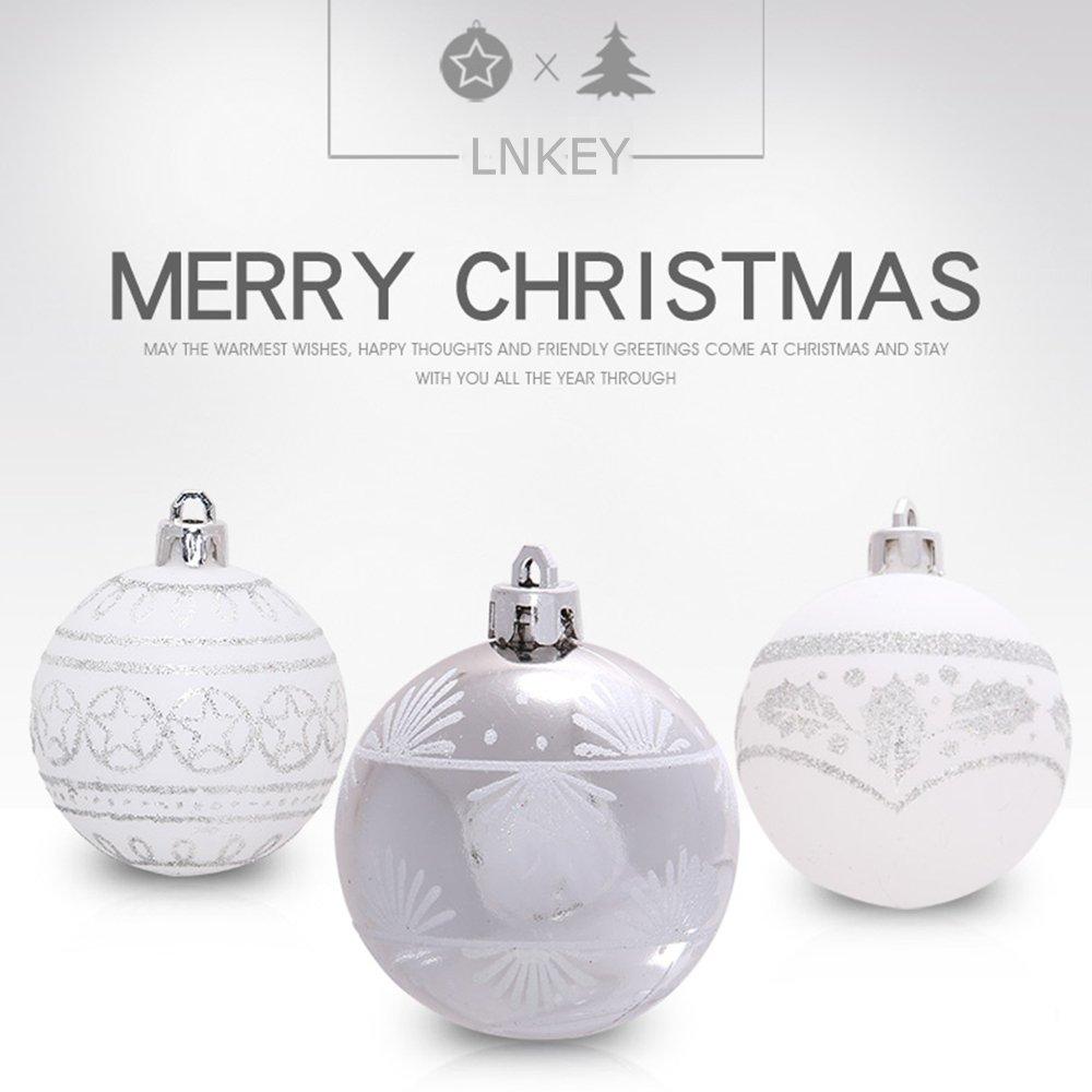 Lnkey 24 Bolas de Navidad blancas y silver, Inastillable decoración exquisita boda Fiesta Navidad bolas adornos árbol(24 / Pack,Plata y blanco, ...
