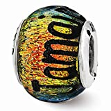 Sterling Silver Reflections Jamaica Orange Dichroic Glass Bead