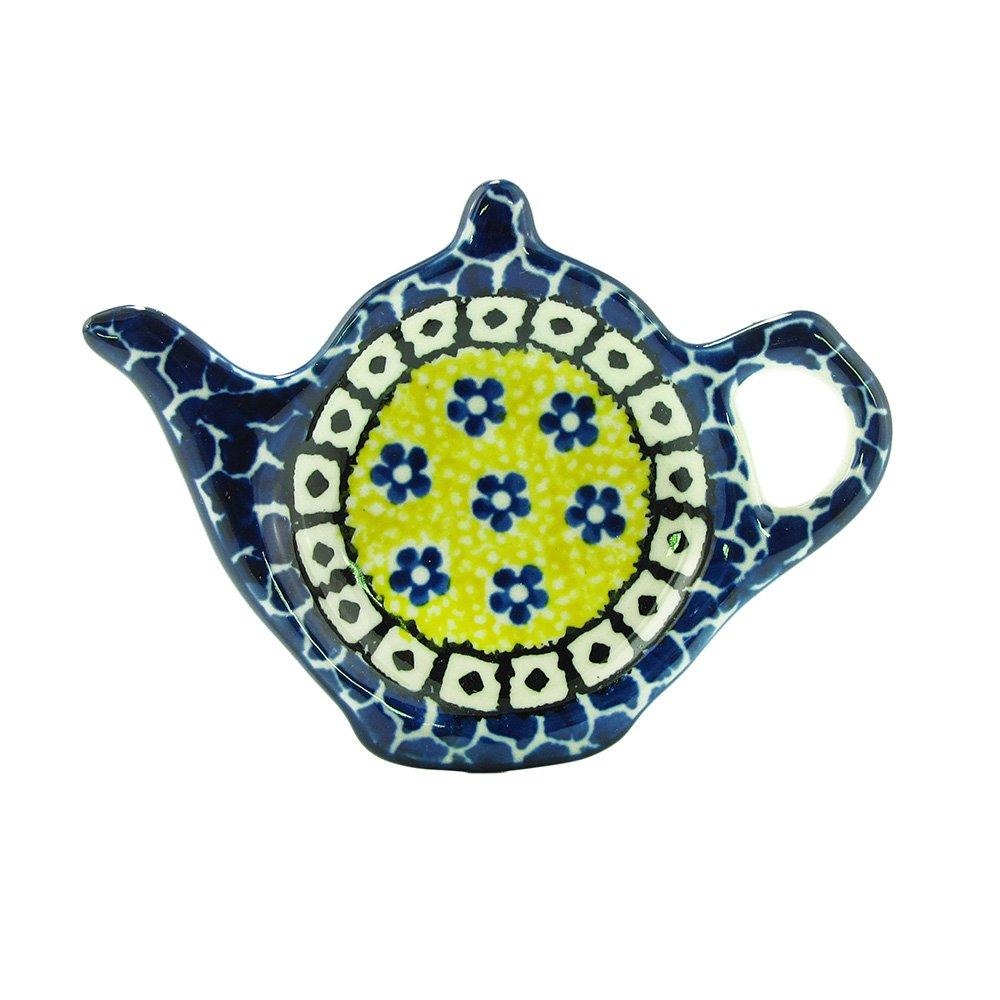 Polish Pottery Handmade Teapot Teabag Holder Traditional Stoneware Pattern 766-859