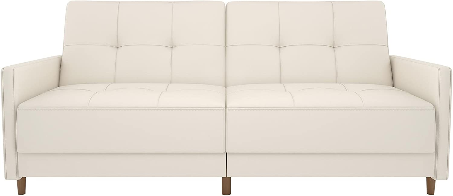 DHP Andora Coil Futon Sofa Bed Couch with Mid Century Modern Design – White Faux Leather
