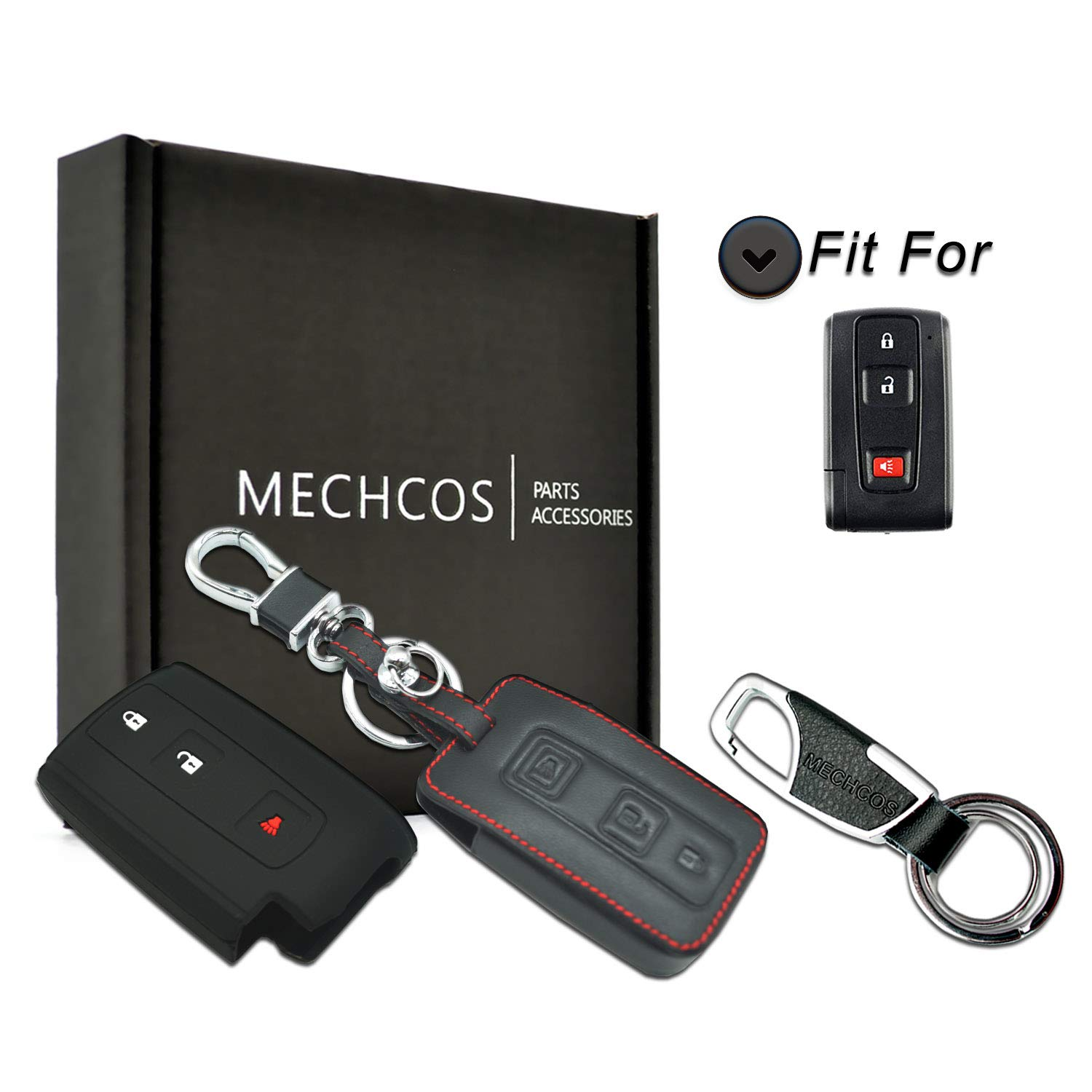 MECHCOS For 2+1 Buttons 2004-2009 Toyota Prius Leather Smart Keyless Entry Remote Control Key Fob Cover Pouch Bag Jacket Case Protector Shell