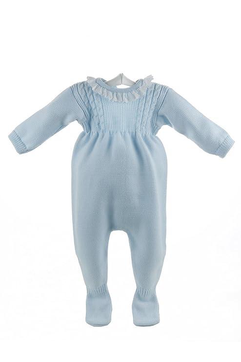 Isabel Maria - Pelele de lana para bebés celeste con ochos - 3 meses, Celeste