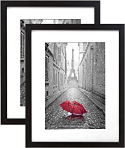 Americanflat 2 Pack - 9x12 Black Picture Frames - Display Pictures 6x8 with Mats - Display Pictures 9x12 Without Mats - Wall Mountable