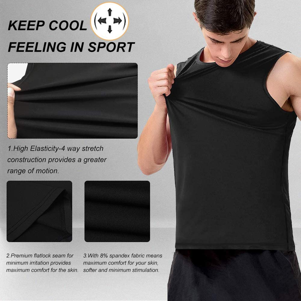MeetHoo Tank Tops for Men, Workout Sleeveless T Shirts Gym Tank Tee Muscle Bodybuilding Fitness Undershirt: Clothing
