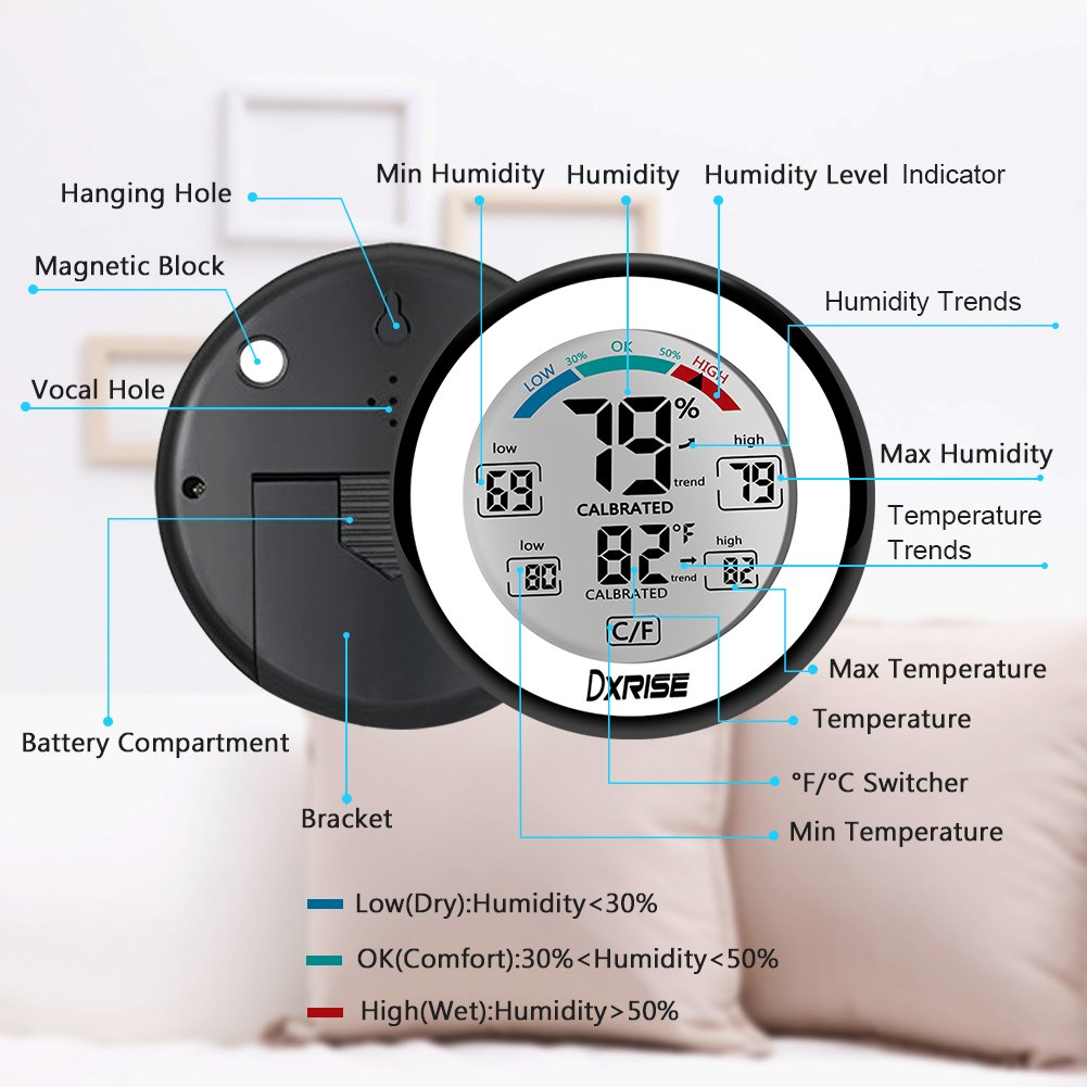 Wireless Humidity Gauge Digital Hygrometer Indoor Temperature and Humidity Monitor meter with Accurate Monitor Clear Reading, Min/Max Records, C/F switch by dxrise (Image #2)