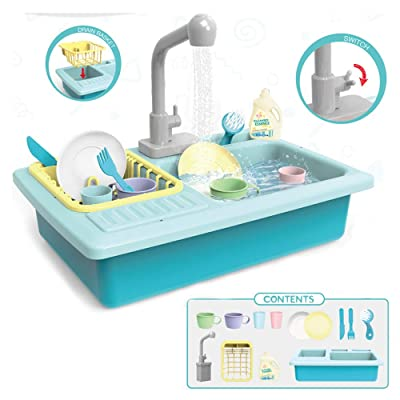 AISFA Kitchen Accessories Washing Dishes Toy Sink Playset,Children Heat Sensitive Electric Dishwasher Playing Toy with Running Water, Play House Pretend Role Play Toys for Boys Girls: Toys & Games