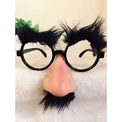 675564b94d Amazon.com  Classic Disguise Prop Fuzzy Nose Glasses with Eyebrow ...