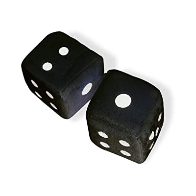 Vagway Fuzzy Dice Car Mirror- Pair of Black Hanging Dice- Plush Stylish Vintage Retro Accessory: Automotive
