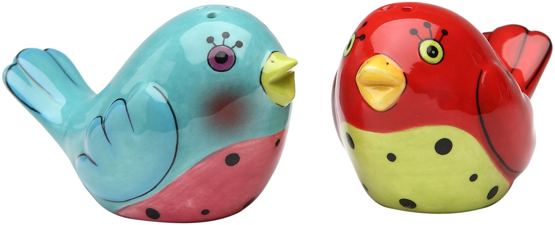 Appletree 1-3/4-Inch Ceramic Red and Blue Love Birds Salt and Pepper
