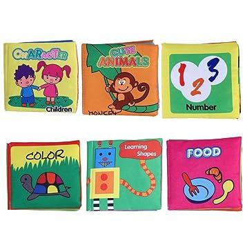 Shager 6pcs Livres De Bebe En Tissu Jouet Enfant Jouets