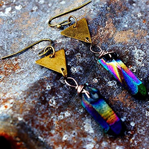 (DoubleNine Crystal Quartz Earrings Healing Point Boho Rainbow Raw Stone Jewelry Minimalist Earrings for Women Girls (Rainbow))