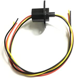 Taidacent 3 Wires 4 Wires 5A 10A 15A 30A Electrical Slip Ring Collector Ring Rotary Electrical Contact Joint Rotary Connector Commutator (3 Wires 10A Diameter 22mm)