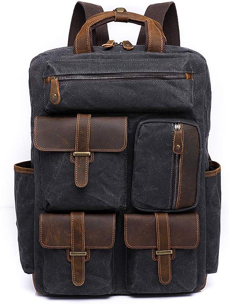 A.OAQRFA Bolsa de cera al óleo mochila viaje Vintage bolsa de lona de gran capacidad al aire libre bolsa de los hombres Gris