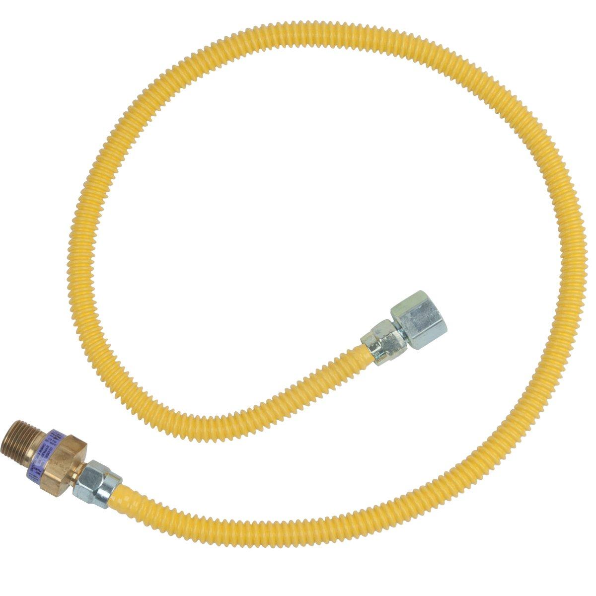 BrassCraft CSSL115R-36 P Safety Plus Gas 3/8'' Od Connector With 3/8'' Female Flare Efv x 1/2'' Fip x 36''