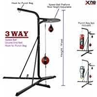 3 way Frame 4ft Boxing Hanging Punch Bag Stand MMA Boxing Stand Speedball Platform Punch Bag Frame Free Standing Double End Ball Case Boxing Punching Martial art Workout Station for Sandbags(Target Punch Bag)
