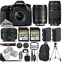 Canon EOS 80D Wi-Fi Full HD 1080P Digital SLR Camera + Canon 18-135mm IS USM Lens + Canon 75-300mm III Lens + Canon 50mm 1.8 II Lens. All Original Accessories Included - International Version