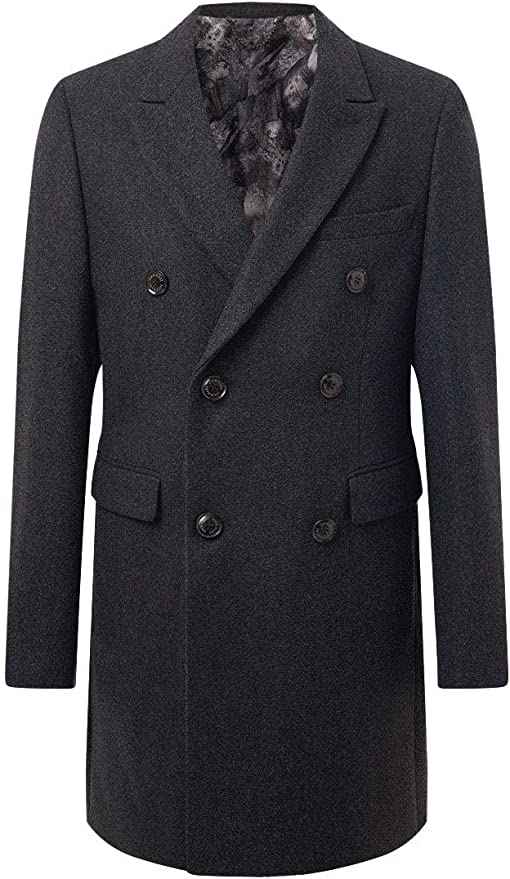 Men's Vintage Style Coats and Jackets Loch Hart Mens Charcoal Overcoat Regular Fit Double Breasted £99.99 AT vintagedancer.com