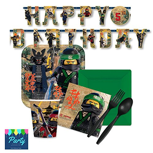 Lego Ninjago Party Supply Pack for 16 Guests - Plates, Napkins, Cups, Plasticware by Party Tableware (Ninjago Birthday Party Supplies)