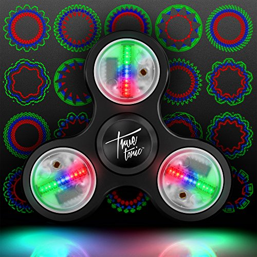The Original Fidget Aluminate: The LED Light Up Fidget Aluminum Pattern Spinner w/ On/Off Switch + 20 Pattern Modes + Large Batteries for Maximum Brightness - Aluminum Case Included (Midnight Black) Led Spinner