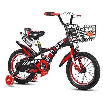 1-1 14 Pulgadas para niños Bicicleta, Muchachos Chicas Al Aire Libre Ciclismo Niños Juguete Altura Ajustable Doble Freno Antideslizante La Seguridad,Red*B: ...