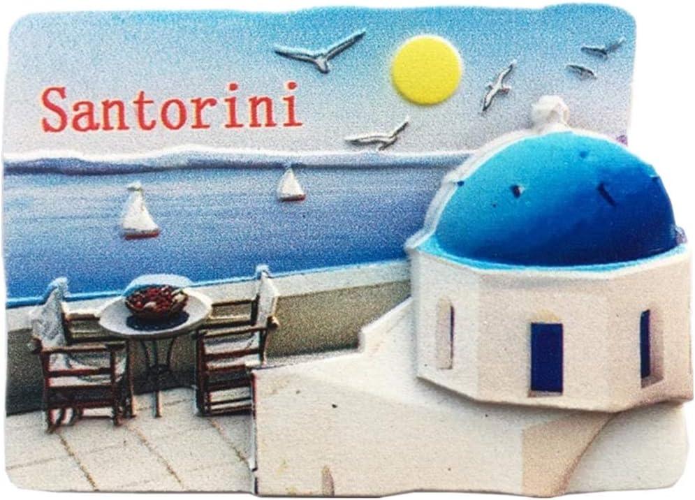 Fridge Magnet Santorini Greece 3D Resin Handmade Craft Tourist Travel City Souvenir Collection Letter Refrigerator Sticker