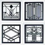 CoasterStone FWAS600 Metal Insert Absorbent Coasters, 4-1/4-Inch, ''Frank Lloyd Wright Art Glass II'', Set of 4