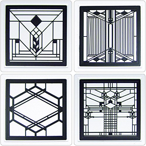 CoasterStone FWAS600 Metal Insert Absorbent Coasters, 4-1/4-Inch, ''Frank Lloyd Wright Art Glass II'', Set of 4 by CoasterStone