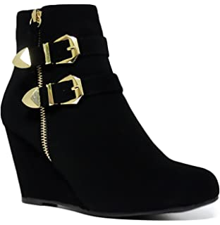 Amazon.com | Amman Ankle Wedge High Heel Ankle Boots | Ankle & Bootie