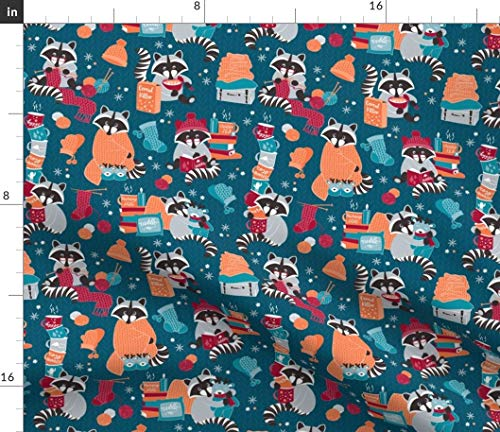 Spoonflower Raccoon Fabric - Hygge Winter Turquoise Red Orange Blue Cute Woodland Ting Home Wool Read Print on Fabric by The Yard - Velvet for Upholstery Home Decor Bottomweight - Perfect Outerwear Wool