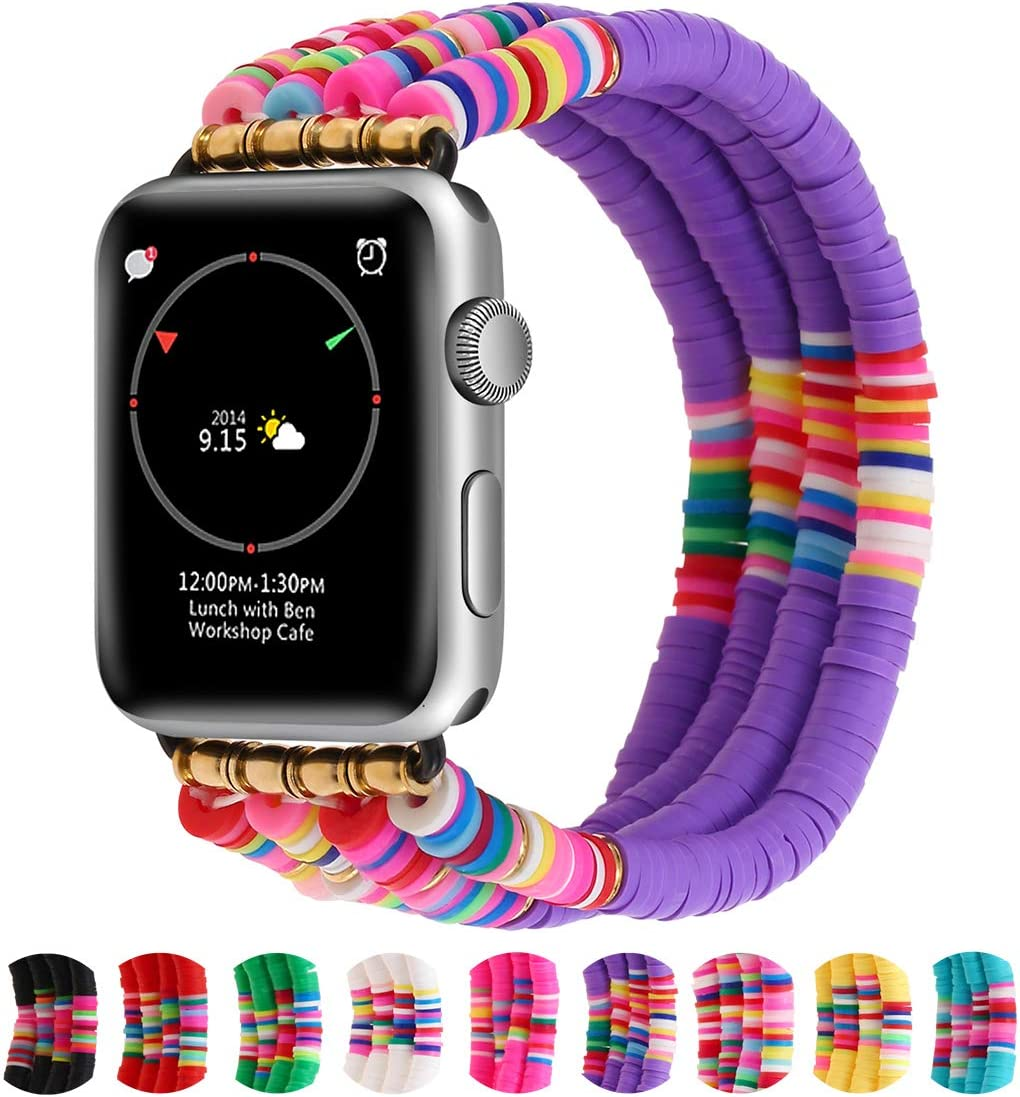 Betykuku Compatible with Apple Watch Bands 38mm/40mm Series 5/4 Women Girl, Cute Handmade Fashion Stack Rainbow Vinyl Disc Bead Compatible for Apple iWatch Series 5/4/3/2/1 (Purple, 38/40)