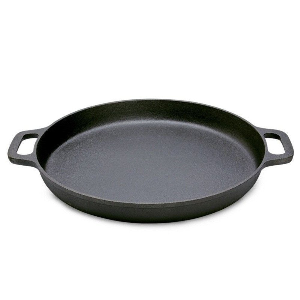 12-inch Pre-Seasoned Cast Iron Round Baking Pizza Frying Pan Cooking Griddle with Double Handles-Perfect for Use on a Stovetop, BBQ, or Oven