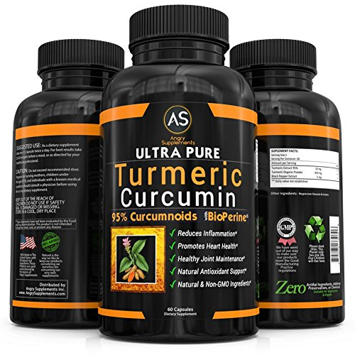 Turmeric Curcumin with BioPerine Black Pepper Extract (60 Capsules 1 Month Supply), 95% Curcuminoids Best All Natural Powerful Antioxidant for NON GMO Joint Support and Pain Relief