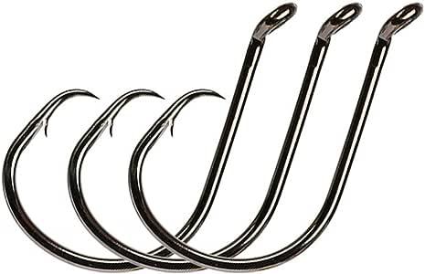Yogayet Offset Fishing Hooks Octopus Circle Hooks Extra Sharp Black High Carbon Steel for Saltwater Boat Fishing 1/0-10/0 50 Pcs