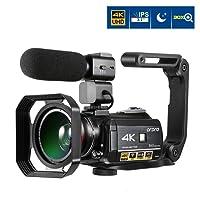 Caméscope 4K, Caméra Vidéo ORDRO Ultra HD 3,1'' IPS Pouces écran Tactile Caméra Zoom Numérique 4K avec Vision Nocturne IR 30X WiFi avec Microphone Externe, Objectif Grand Angle, Pare-soleil et Support
