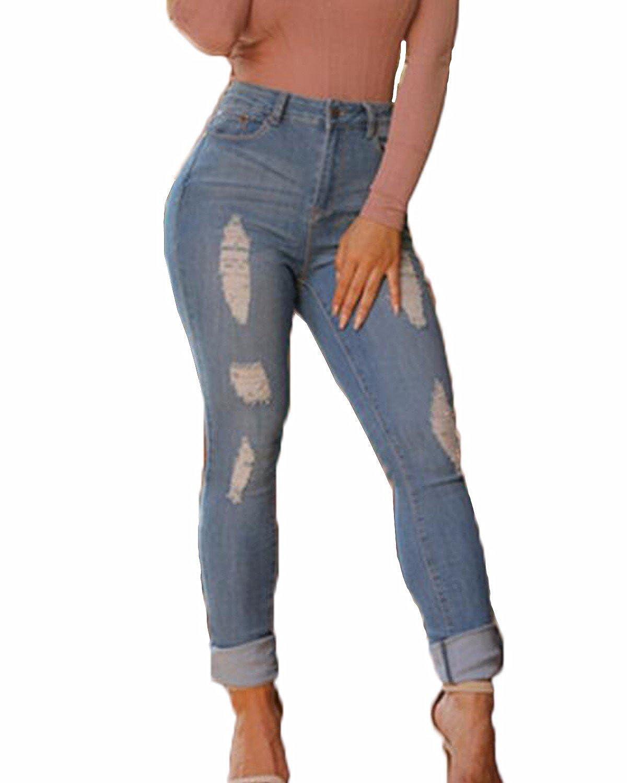 ZANZEA Women Hi-Waist Pencil Denim Pants Skinny Legging Ripped Distressed Jeans