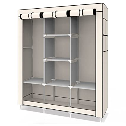 UDEAR Closet Portable Wardrobe Clothes Organizer Double Hanger Section  Free Standing Wardrobe Storage, Beige