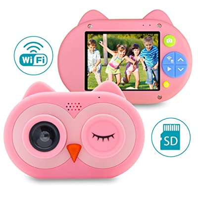 "Child Digital Camera, Kids WiFi Video Camera with 2"" IPS Screen and 16GB TF Card, 8.0MP Mini Rechargeable Children Camcorder Gift for Little Girls, Boys (Pink) : Electronics"