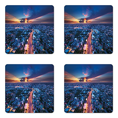 Urban Coaster Set of Four by Ambesonne, Bangkok Skyline at Sunset Evening Thailand Cityscape Metropolis Architectural Photo, Square Hardboard Gloss Coasters for Drinks, Blue Coral (Bangkok Patio)