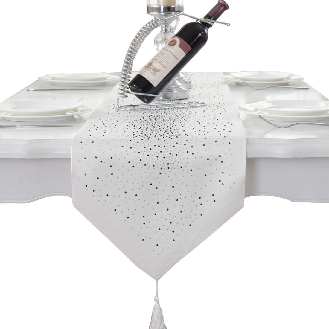 Luxury diamond bright star white damask silk tassel home decorative table runner 80 inch approx Homes hold table runner